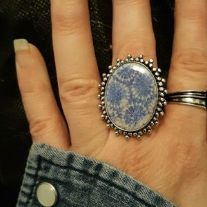 New Fossil Coral Silver Ring. Size 9.75